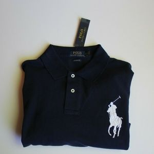 Polo Ralph Lauren Navy Shirt Large White Pony XL